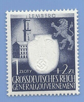 Germany Third Reich Nazi Occupation of Poland Swastika 1+2 Stamp MNH WW2 ERA