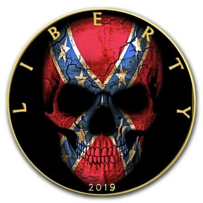 2019 1 Oz Silver $1 CONFEDERATE FLAG SKULL EAGLE Coin WITH 24K GOLD GILDED.