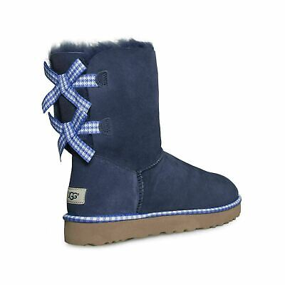 4d88fc7d680 UGG BAILEY BOW Gingham Navy Suede Sheepskin Women's Boots Size Us 6 ...