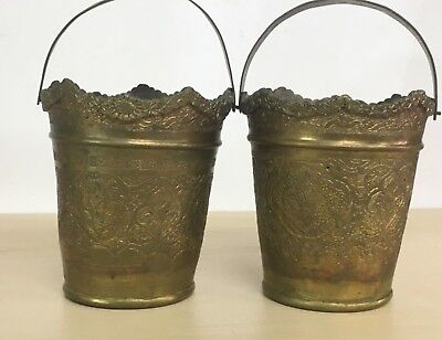 Antique Rare Islamic Ottoman Old Brass Copper Hand Etched Pair of bowls