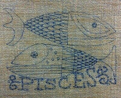 Pisces Crewel Embroidery Astrology Horoscope Fish Tapestry MCM Vintage Estate