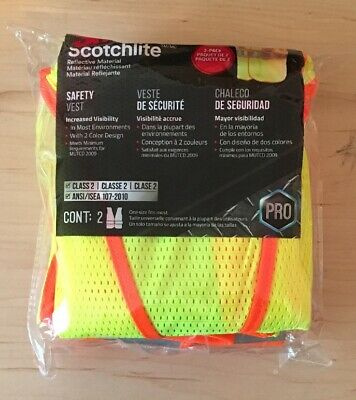 NEW 3M High-Visibility Yellow Reflective 2-Tone Construction Safety Vest 2-Pack