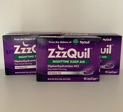 3 Pack ZzzQuil Nighttime Sleep-Aid 120 LiquiCaps 144 Total 8/19