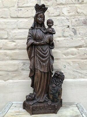 SALE !! Stunning& RARE  Mother Mary/Madonna & Child with lion & dog in plaster