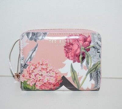 dd34cbcea NWT Ted Baker London Darla Palace Gardens Small Leather Zip Purse Dusty  Pink $69