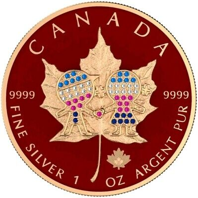 2019 1 Oz Silver 5$ Canada VALENTINE'S MAPLE LEAF Bejeweled Coin, 24K ROSE GOLD.