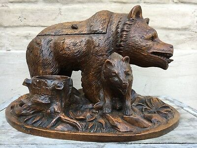 SALE ! Large Swiss Black Forest Bear tobacco jar /Brienz Quality wood carving