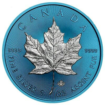 2019 1 Oz Silver $5 Canada SPACE BLUE MAPLE LEAF Coin..