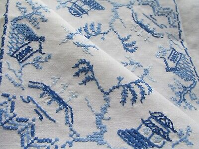Vintage Hand Embroidered Line Tablecloth-BEAUTIFUL WILLOW PATTERN