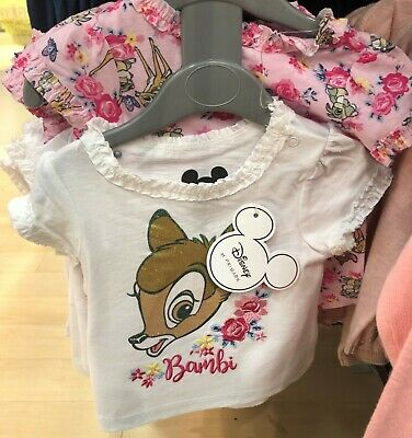 Brand New With Tags Primark Baby Girl Disney Bambi Pink 2 Piece T-Shirt Set