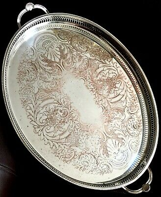 """Large Vintage Ornate Intricate 21""""/54cm """"Cavalier"""" Silver Plated Galleried Tray"""