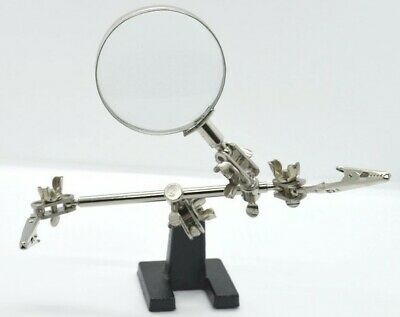 Hands Free Jewellery Craft Hobby Bench Clamp Jaws Magnifying Glass Helping Hand