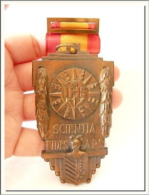 ANTIQUE 1940's IHS - SCIENTIA FIDES ARS HUGE MEDAL & BROOCH ! VISIT MY STORE !