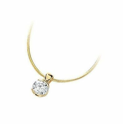 1 ct Round cut Solitaire Diamond stud Pendant Necklace 14k Yellow Gold G-H SI2