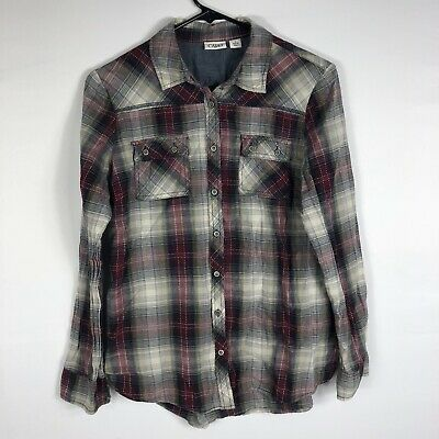 8d2db3b5 CATO WOMENS GREEN Plaid Button Down Shirt Size S - $9.99 | PicClick