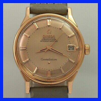 Vintage Omega Constellation Pie Pan 168 005 Date 18k Solid Rose Gold