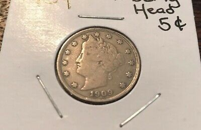 "1909 P Liberty Head ""v"" Nickel  *ag Or Better*"
