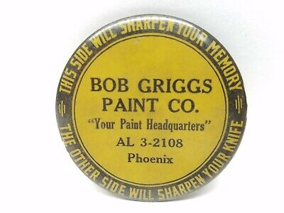 Vintage Advertising BOB GRIGGS PAINT CO. PHOENIX  Knife Sharpener celluloid RARE
