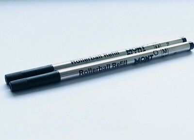 2 Black Mont Blanc Rollerball Refills- Medium Point