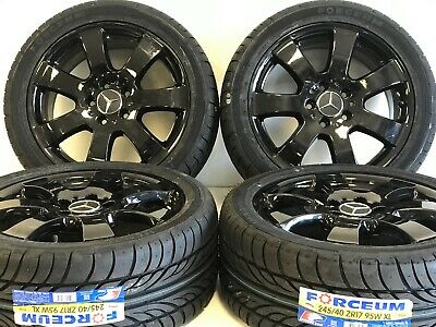 Set 4 17 Mercedes Benz Ml C E Class Black Oem Wheels Rims Tires Packag 65366