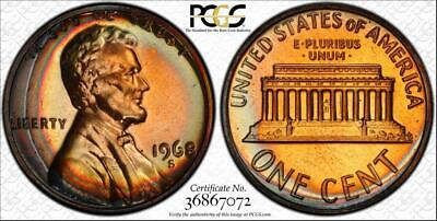 1968-S 1Cent Lincoln Memorial Penny Bu Pcgs Pr67Rb Graded & Toned None Higher!