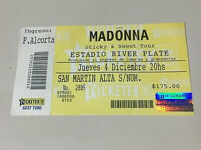Madonna 2008 Ticket Buenos Aires River Plate Argentina !