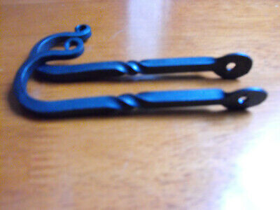 """Blacksmith Hand Made Wall Mount Hooks with twist 5"""" Long x 1"""" opening Set of 2."""