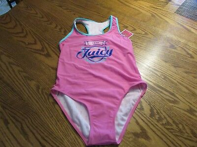 Juicy Couture Girls One Piece Fully lined Racerback Swimsuit Size 12 NWT