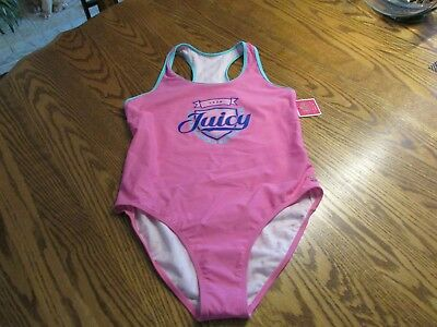 Juicy Couture Girls One Piece Fully lined Racerback Swimsuit Size 16 NWT