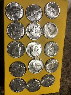 Lot Of 15 Kennedy Half Dollar 40%  Silver 1965-1969