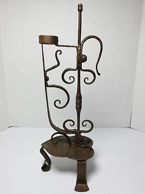 18th Century WROUGHT IRON RUSH Light CANDLE HOLDER FRENCH SCANDINAVIAN Antique