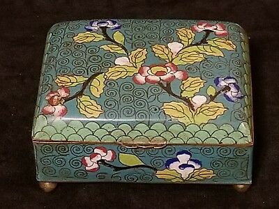 Antique Chinese Cloisonne Trinket Box Floral China