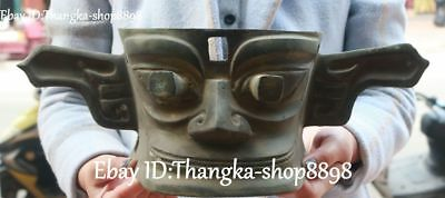 """16"""" Old Ancient Bronze Vessel Ware Hand Made People Person Man Mask Masks Statue"""