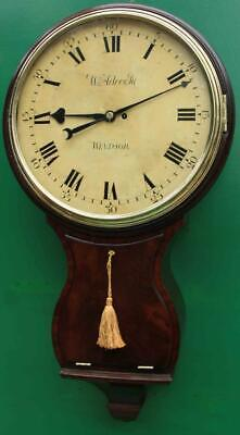 """1775c W.ADCOCK WINDSOR ENGLISH BOMBE MAHOGANY 8 DAY FUSEE 18"""" WOODEN DIAL CLOCK"""