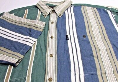 * Retro VTG 90S RALPH LAUREN Chaps MENS XL WIDE STRIPE  SHIRT
