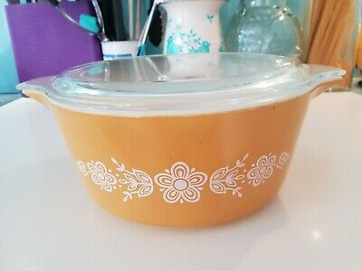 Vintage Retro 475-B Pyrex Golden Butterfly Dish with Lid