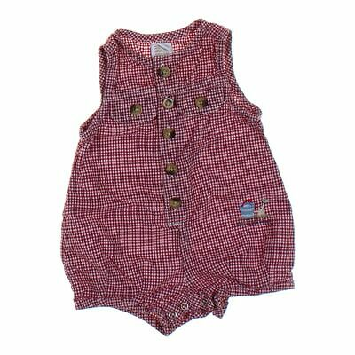 babyGap Baby Boys Gingham Romper, size 3 mo,  red,  cotton