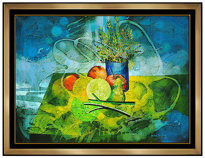 Yankel Ginzburg Original Oil PAINTING On Canvas Signed Still Life Flowers Art