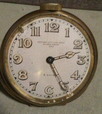 Vintage 8 Day Swiss Made Travel Alarm Clock GOLDEN JUBILEE 1945 KANSAS CITY LIFE