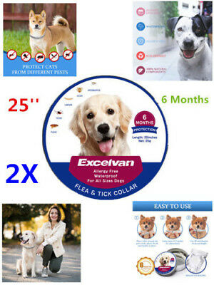 "2x Adjustable Flea Tick Collar For Pet Dogs 25"" 6 Months Protection Waterproof"