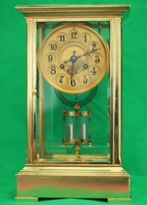 Tiffany And Co Antique French 8 Day Four Glass Crystal Regulator Mantle Clock