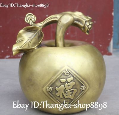"""14"""" Chinese Old Bronze Gilt Carving Wealth Blessing Apple Apples Fruit Statue"""