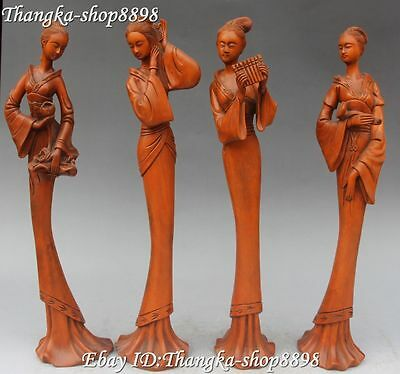 """12"""" Chinese Boxwood Wood Carving Ancient 4 Beauty Girls Bell Belle Statue Set"""