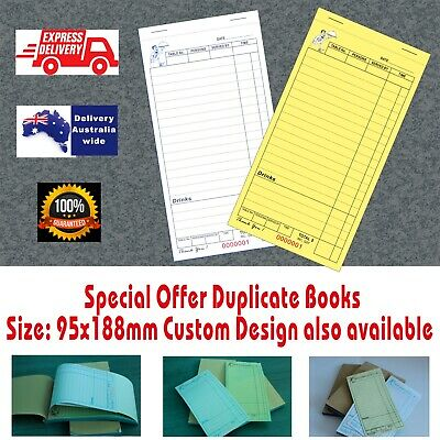 100 LARGE Restaurant Docket Books.Duplicate Fast Delivery Aus  Wide TOP SALE