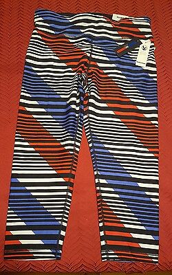 95688802ab632 NWT  59 Tommy Hilfiger Sport Striped Active Leggings Crop Mid Rise Pants  Large