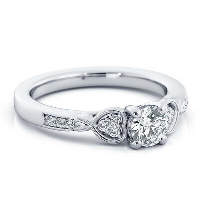 10k Real White Gold Three Stone Style Engagement Ring 0.85ct Round Cut Diamond