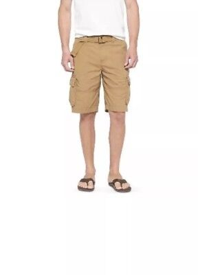 54718a3d1e Mossimo Mens Shorts Cargo Brown Mid Rise 100% Cotton Solid Belted Size 28