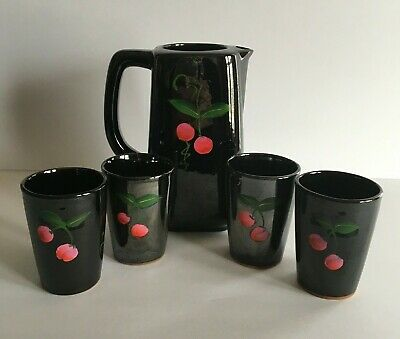Vintage Relco Japan  Double Side Painted Pitcher and Juice Glass Set 5 pc.