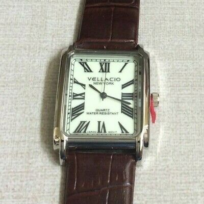 Vellacio New York Mens Watch Rectangle Dial Roman Numerals on Brown Leather Band