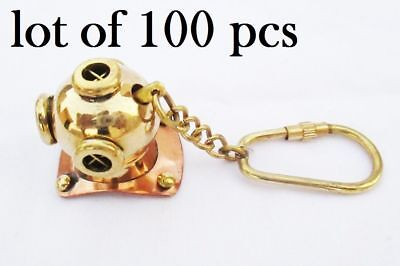 Lot of 100 Brass Divers Helmet Keychain Nautical Diving Keyring Gifts Items